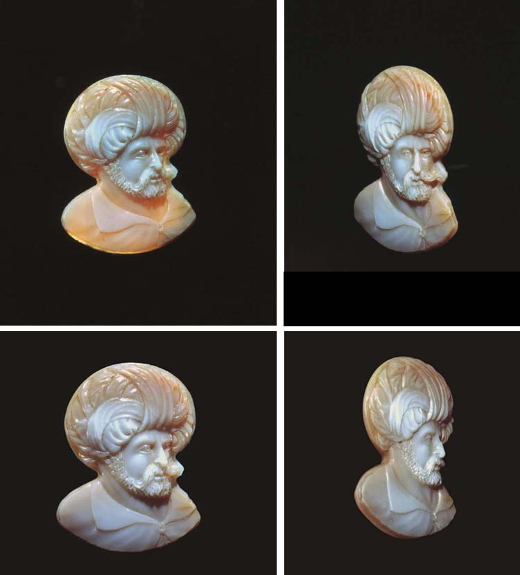 A CARVED AGATE CAMEO OF BARBAR