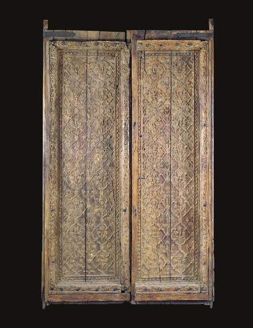 A PAIR OF MUGHAL CARVED WOODEN