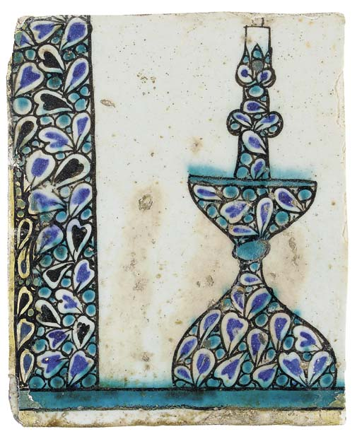 A DAMASCUS POTTERY TILE