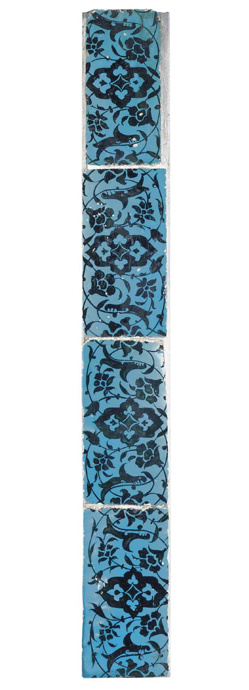 FOUR BLACK AND TURQUOISE POTTE