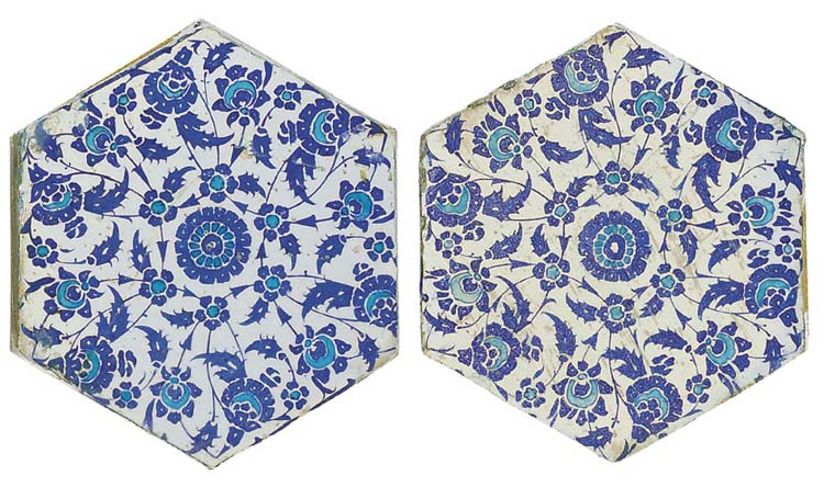 TWO IZNIK BLUE, WHITE AND TURQ