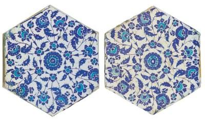 TWO IZNIK BLUE, WHITE AND TURQ