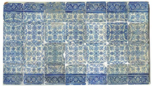 A PANEL OF LATE SAFAVID BLUE A
