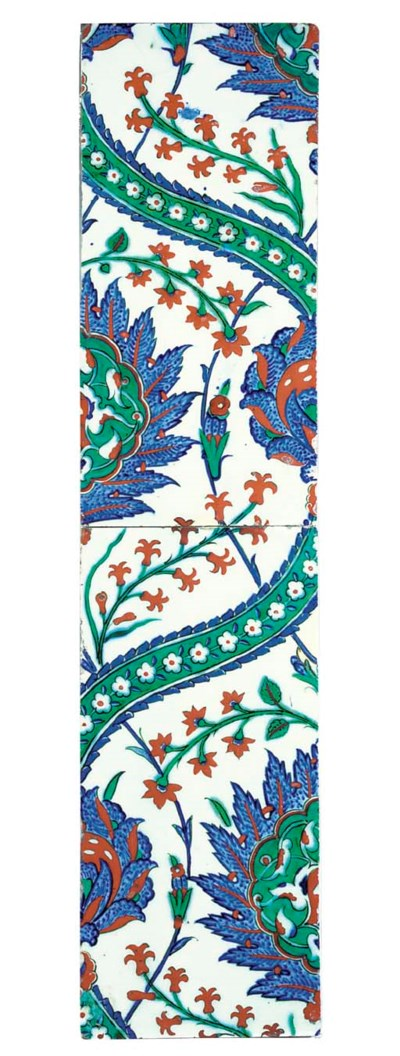 TWO IZNIK POTTERY HALF TILES
