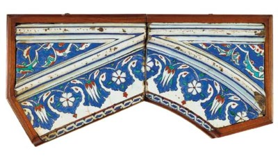 TWO IZNIK POTTERY TILES FROM A