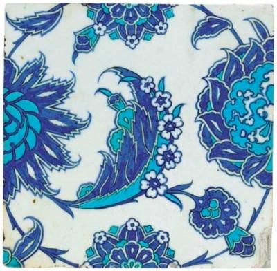 AN IZNIK BLUE, WHITE TURQUOISE