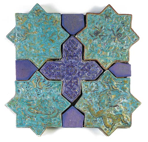 FIVE ILKHANID COBALT-BLUE AND