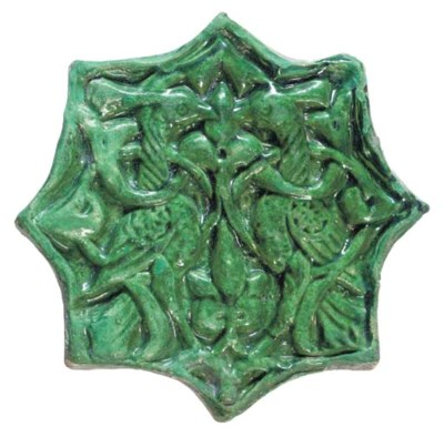 A GHAZNAVID MOULDED GREEN GLAZ