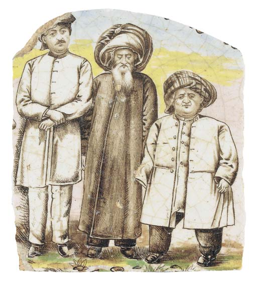 A QAJAR POTTERY TILE FRAGMENT