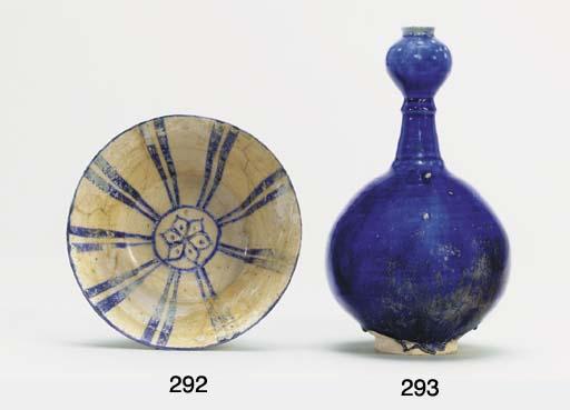 A KASHAN BLUE GLAZED BOTTLE