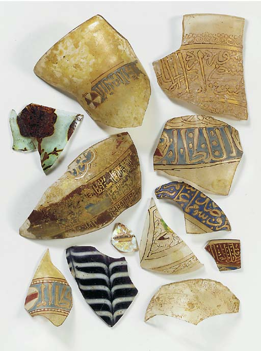 A COLLECTION OF GLASS FRAGMENTS