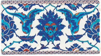 AN IZNIK BLUE, RED AND TURQUOI