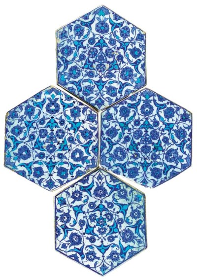 FOUR IZNIK BLUE, TURQUOISE AND