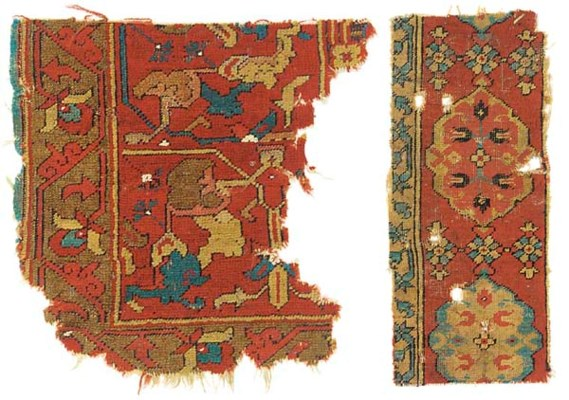 TWO OTTOMAN CARPET FRAGMENTS