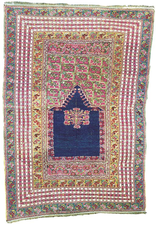 A GHIORDES PART-COTTON PRAYER RUG