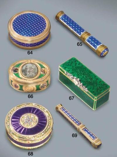 A LOUIS XVI ENAMELLED GOLD BON
