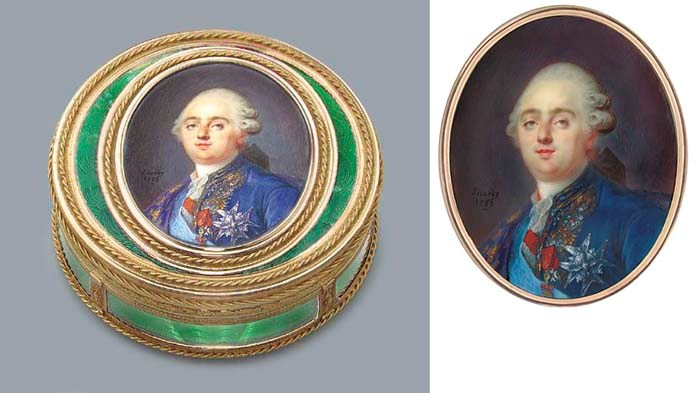 A FINE LOUIS XVI GOLD AND GLAS
