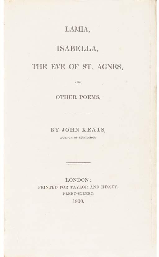 KEATS, John (1795-1821). Lamia