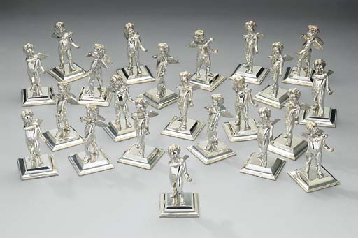 A set of twenty-two silver place-card holders