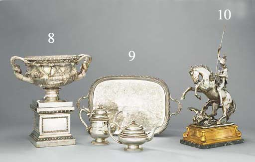 An Italian silver-plated, bronze and marble sculptural centrepiece