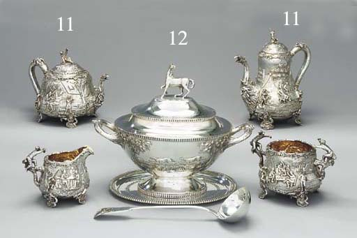 A Victorian silver four-piece