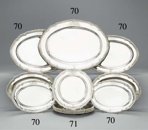 A set of seven George III silver meat-dishes