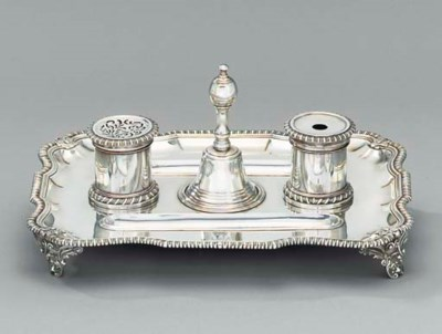 A George II silver inkstand