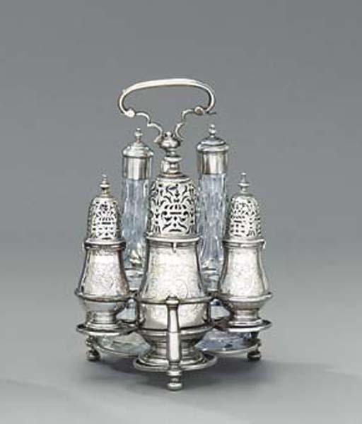 A Queen Anne silver cruet-fram