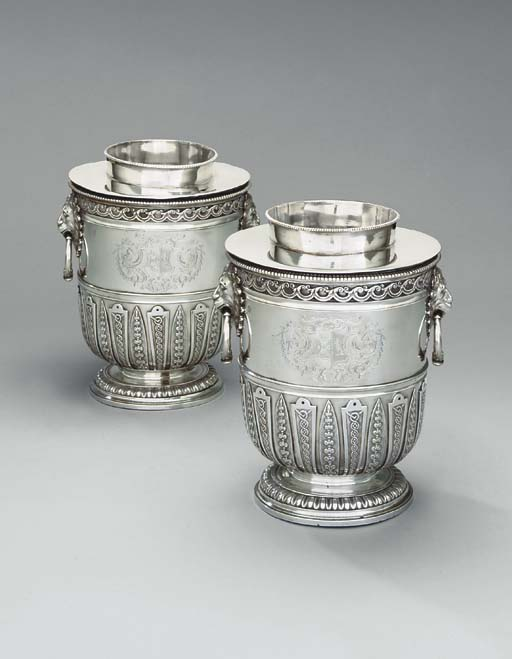 A pair of Queen Anne silver wine-coolers