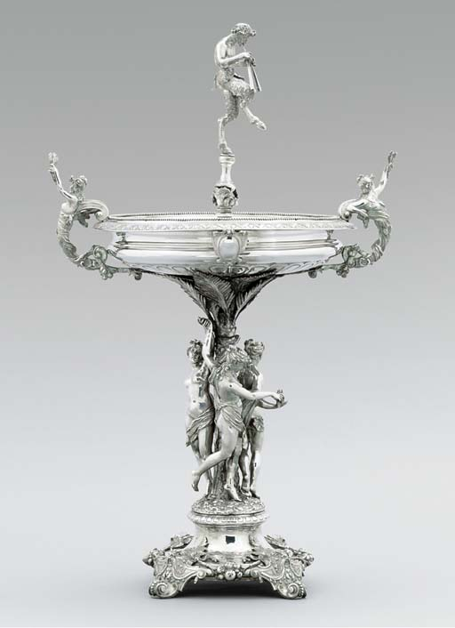 A silver-plated centrepiece