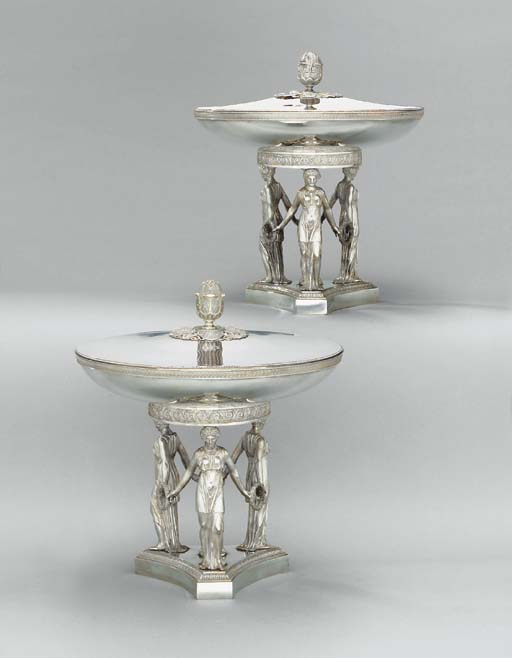 A pair of French silver desser