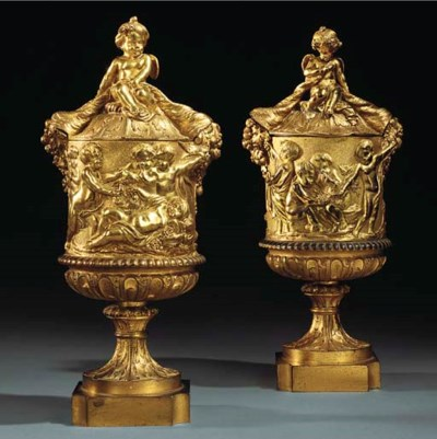 A PAIR OF ENGLISH GILT-BRONZE