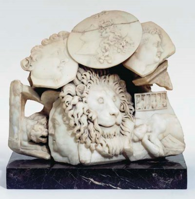 A CARVED MARBLE PRESENTATION P