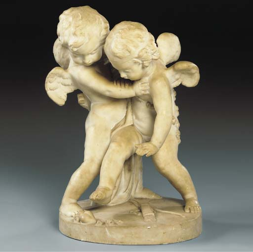 A CARVED MARBLE GROUP OF TWO F