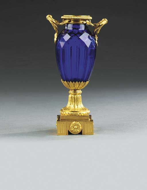 A LOUIS XVI ORMOLU AND BLUE CU