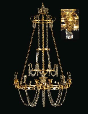 A SWEDISH ORMOLU AND CUT-GLASS