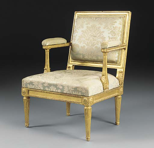 A GERMAN GILTWOOD FAUTEUIL