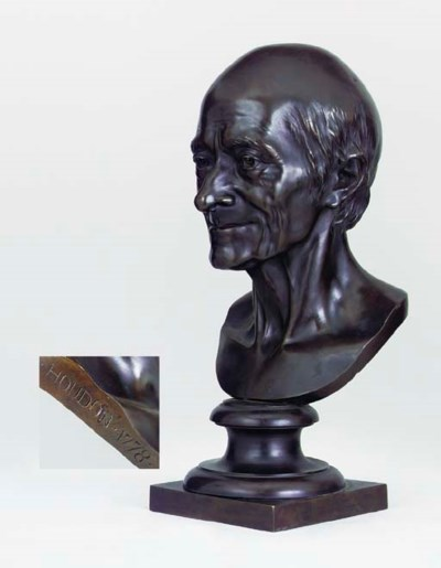A BRONZE PORTRAIT BUST OF VOLT