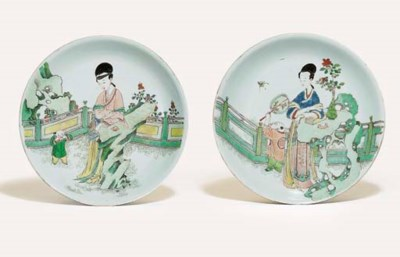 TWO FAMILLE VERTE DISHES