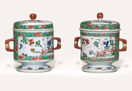 A PAIR OF FAMILLE VERTE URNS A