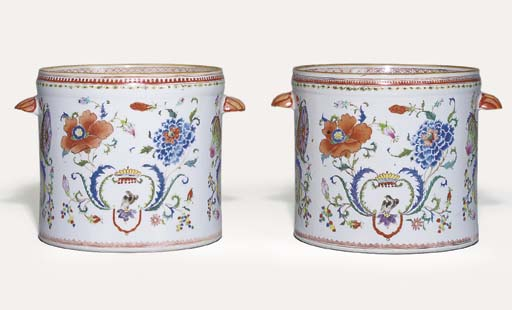A PAIR OF RARE FAMILLE ROSE 'M