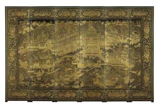 A GILT AND BLACK LACQUER SCREE