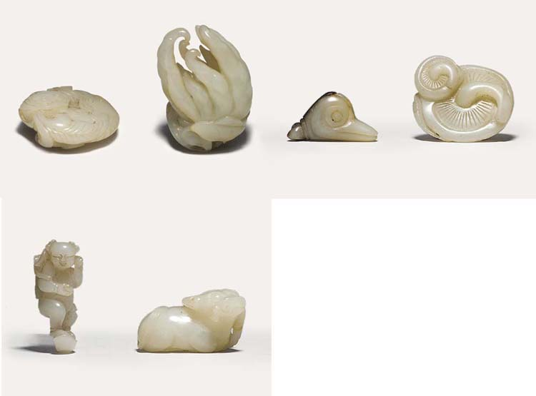 SIX WHITE JADE CARVINGS