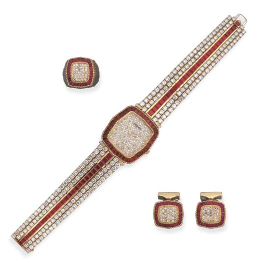 A RUBY AND DIAMOND WATCH, RING