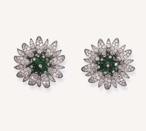A PAIR OF DIAMOND AND EMERALD