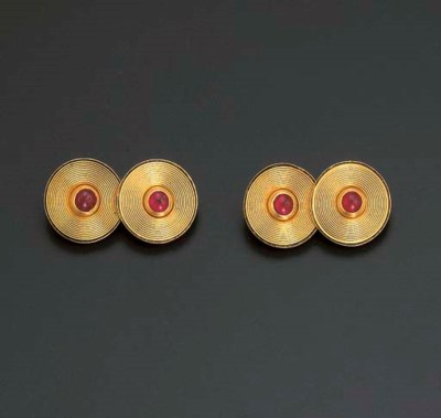 A PAIR OF RUBY CUFFLINKS, BY C
