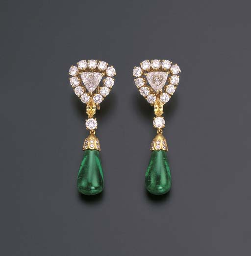 A PAIR OF FINE EMERALD AND DIA