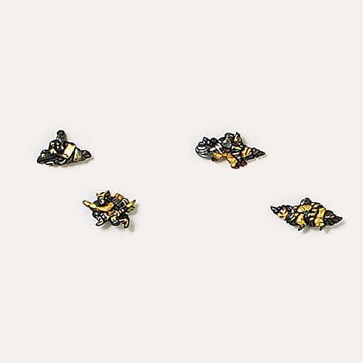 Two pairs of shakudo menuki