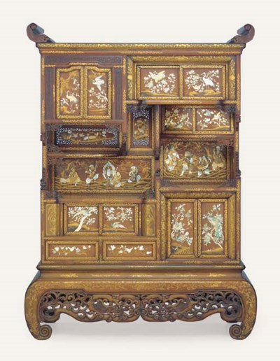 A large inlaid cabinet