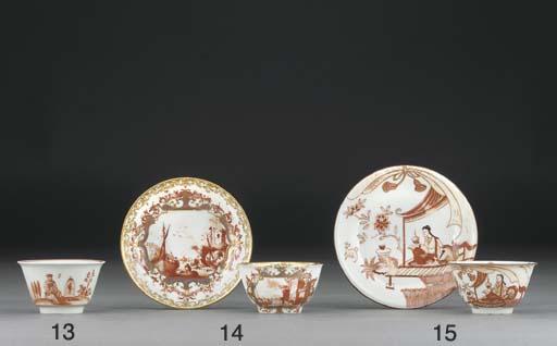 A Böttger Imari teabowl and sa